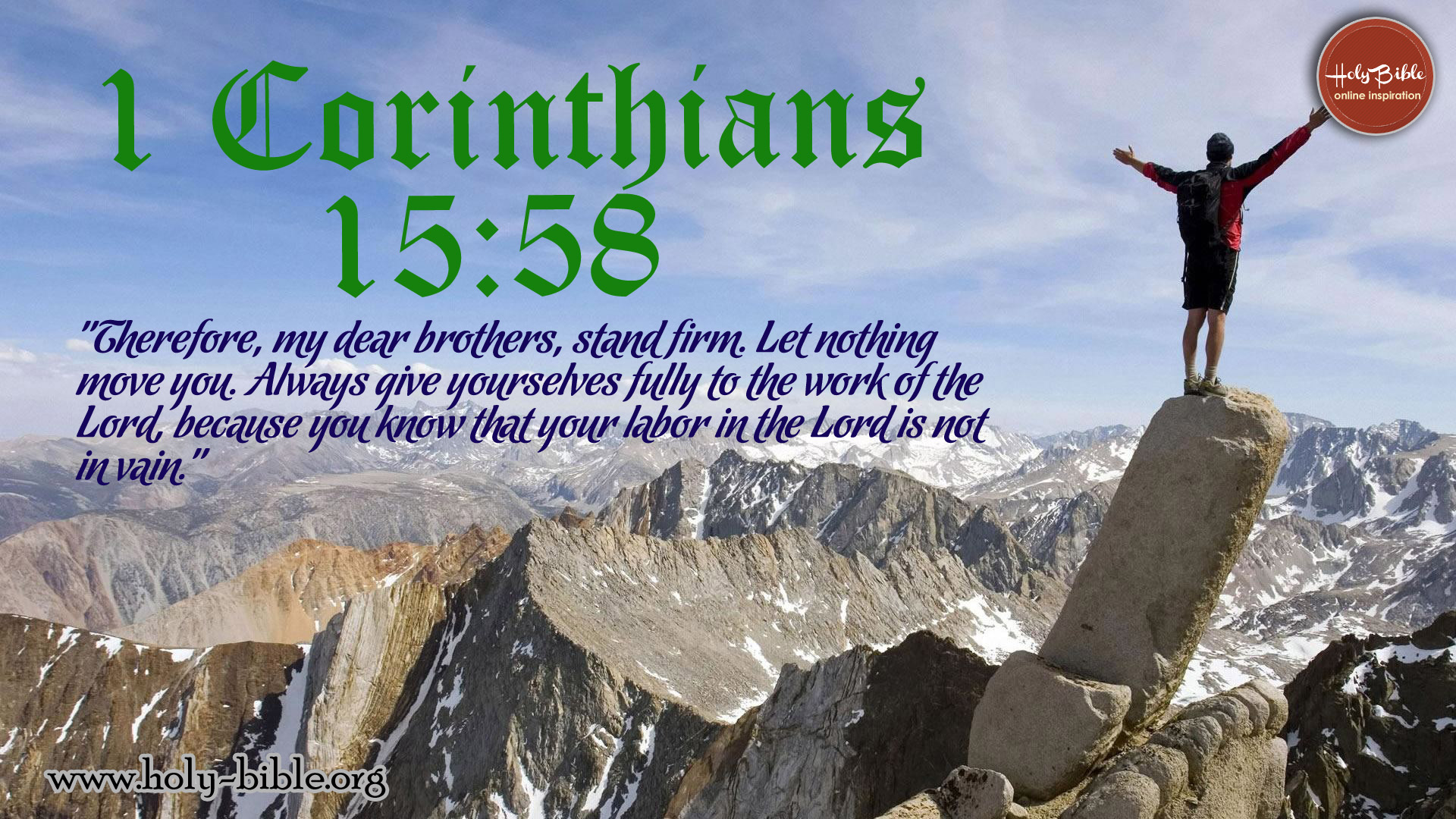 Bible Verse of the day - 1 Corinthians 15:58